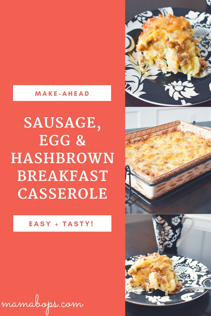 Sausage, Egg & Hashbrown Breakfast Casserole Recipe - This make-ahead recipe for sausage, egg, and hashbrown breakfast casserole is a definite crowd-pleaser for your next brunch! Make this easy breakfast casserole recipe the night before, and simply stick it in the oven to heat up the next morning!
