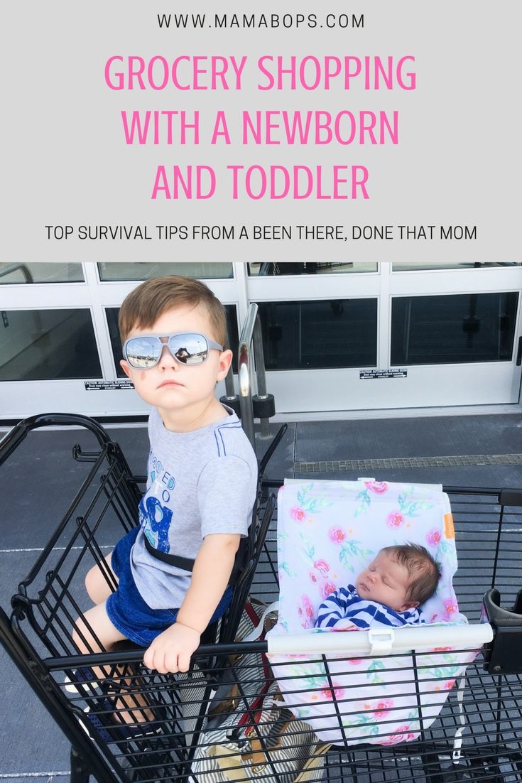 Grocery Shopping with a Newborn and Toddler: Going to the store with 2 kids can be a daunting task. A been-there, done-that mom shares step-by-step advice on how to grocery shop with a newborn and a toddler in tow... and make it home alive!