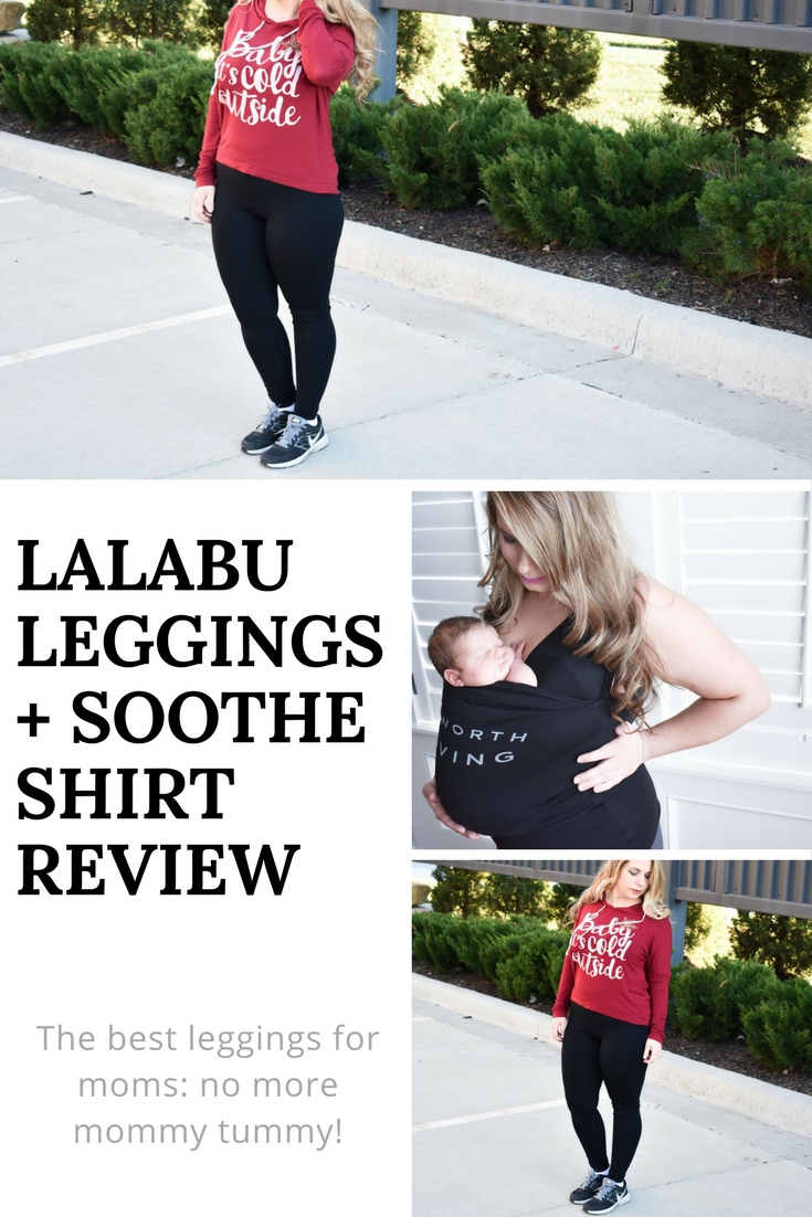 "Looking for the best leggings for moms? These leggings are perfect for any new mom, but as a c-section mom, I'm especially partial to the fact that they hide my c-section shelf [aka ""mommy tummy""]. I just wish I had them with my first child! Read on for my Lalabu Leggings review, and learn about the Lalabu Soothe Shirt for easy babywearing, too! [ad]"