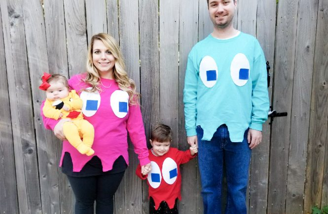 Ms. Pacman and Ghosts Costumes! Here's a DIY family Halloween costume idea that is easy to put together, even as a last-minute Halloween costume! This family Halloween costume could also be adapted to a regular Pac-man for a boy infant or toddler. Pacman and Ms. Pacman costumes would also be great for cosplay or dress-up outside of Halloween, too!