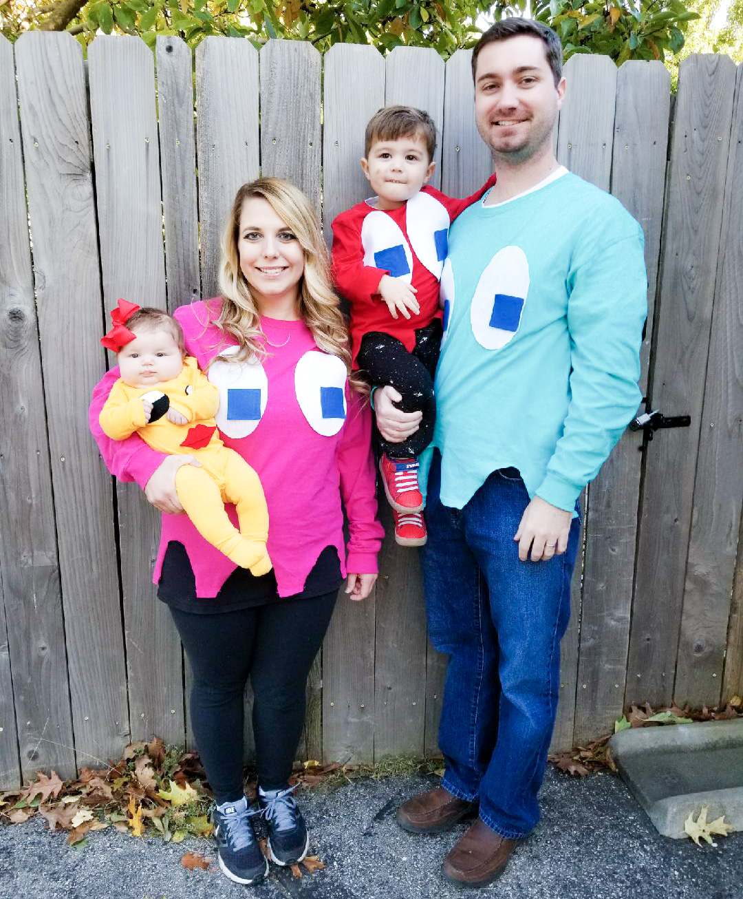 Ms. Pacman and Ghosts Costumes! Hereu0027s a DIY family Halloween costume idea that is  sc 1 st  COVET by tricia & Ms. Pac-Man and Ghosts Costumes [DIY Family Halloween] u2022 COVET by tricia