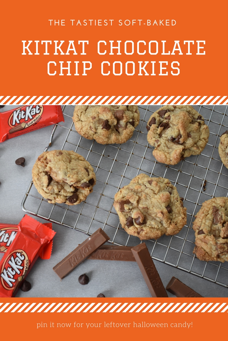 This delicious KitKat Cookie Recipe is the perfect way to use leftover Halloween candy! These KitKat cookies also make a great holiday party dessert or a treat any time of the year. They're soft, chewy, and soooo tasty. If you're looking for a soft-baked chocolate chip cookie recipe with a little something extra, this is it! Trust me, Kit Kat isn't just for Halloween anymore!