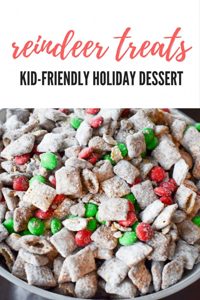 Your family will love this kid-friendly Christmas dessert recipe for Reindeer Treats! It doesn't matter whether you call it Reindeer Treats, Reindeer Chow, Christmas Muddy Buddies, or even Puppy Chow... everyone loves a big bowl of this stuff! This holiday version is even more festive with the addition of red and green candies.