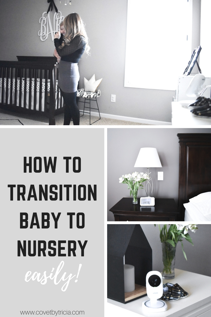 How to Transition Baby to Nursery: It's a big change for everyone when the time has come to get Baby to sleep in his own room! Moving from parents' room to nursery is a big step, and it's important to navigate the transition to crib sleeping carefully. A mom of 2 shares how her family successfully navigated the transitioning Baby to sleeping in nursery with minimal stress! [ad] #MyVTechNursery