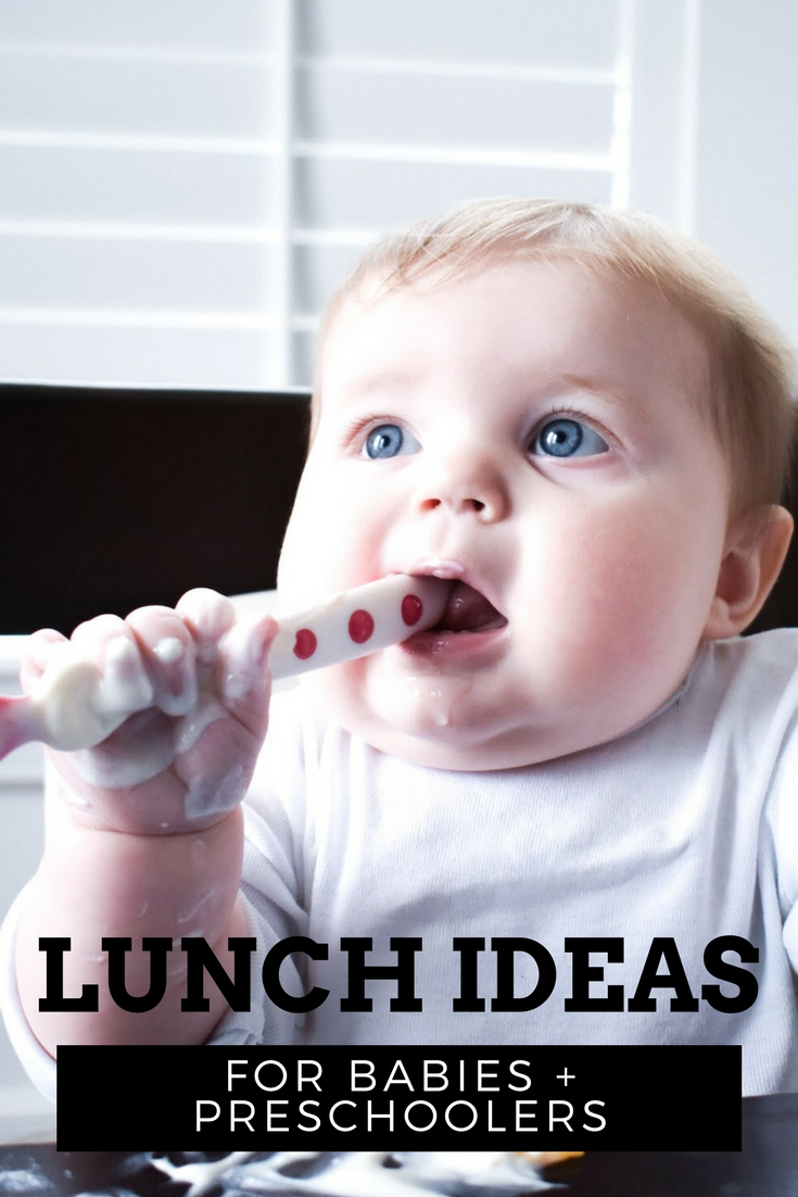 Lunch Ideas for Preschooler and Baby: Getting lunch on the table for a preschooler and baby is just one of the challenges moms face during the day. Toddlers are notoriously picky eaters, so what can you serve that will please everyone? Of course, you want preschooler lunch ideas that don't take too much prep time, because, well, you have a preschooler. Lunch ideas for baby are difficult, too! Here's some examples of typical meals for a preschooler and baby at my house.
