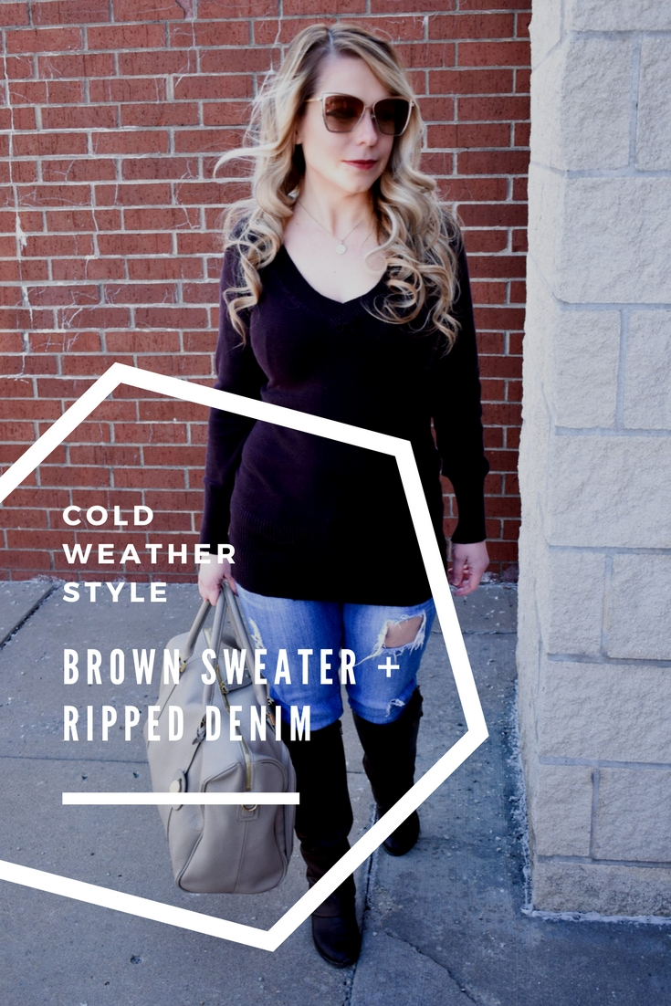 Brown Sweater and Ripped Denim: We're in the midst of a never-ending winter in Kansas City [ugh, Kansas weather!], so, as a Kansas City fashion blogger, I'm sharing one of my favorite winter fashion looks to get your wardrobe through until spring hits! You can't go wrong with a classic brown v-neck sweater, and the ripped jeans give this outfit a bit of edge. Of course, no mom outfit is complete without a stylish diaper bag!