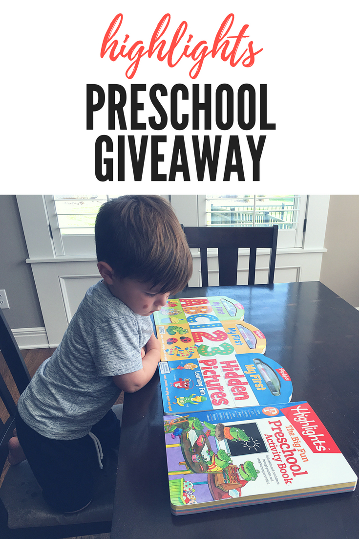 Highlights Preschool Giveaway: Enter to win a Highlights for Children Preschool Prize Pack! A preschool mom shares a Highlights Preschool Review, including the My First ABC, My First 123, My First Hidden Pictures, and The Big Fun Preschool Activity Book. Enter to win before June 30, 2018!