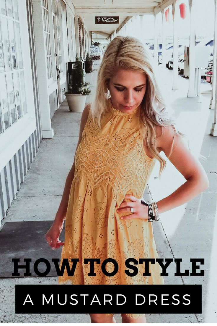 How to Style a Mustard Dress; Wondering what to wear with your mustard dress? Mustard is one of the most trendy colors in fashion right now, but it can be confusing to coordinate with the rest of your wardrobe. Here's how to style a mustard dress for summer with nude wedges and fun accessories! Fashion blogger COVET by tricia shows how to wear a mustard dress in summer, featuring a crochet dress from PinkBlush. Post includes an exclusive Victoria Emerson coupon code, too!