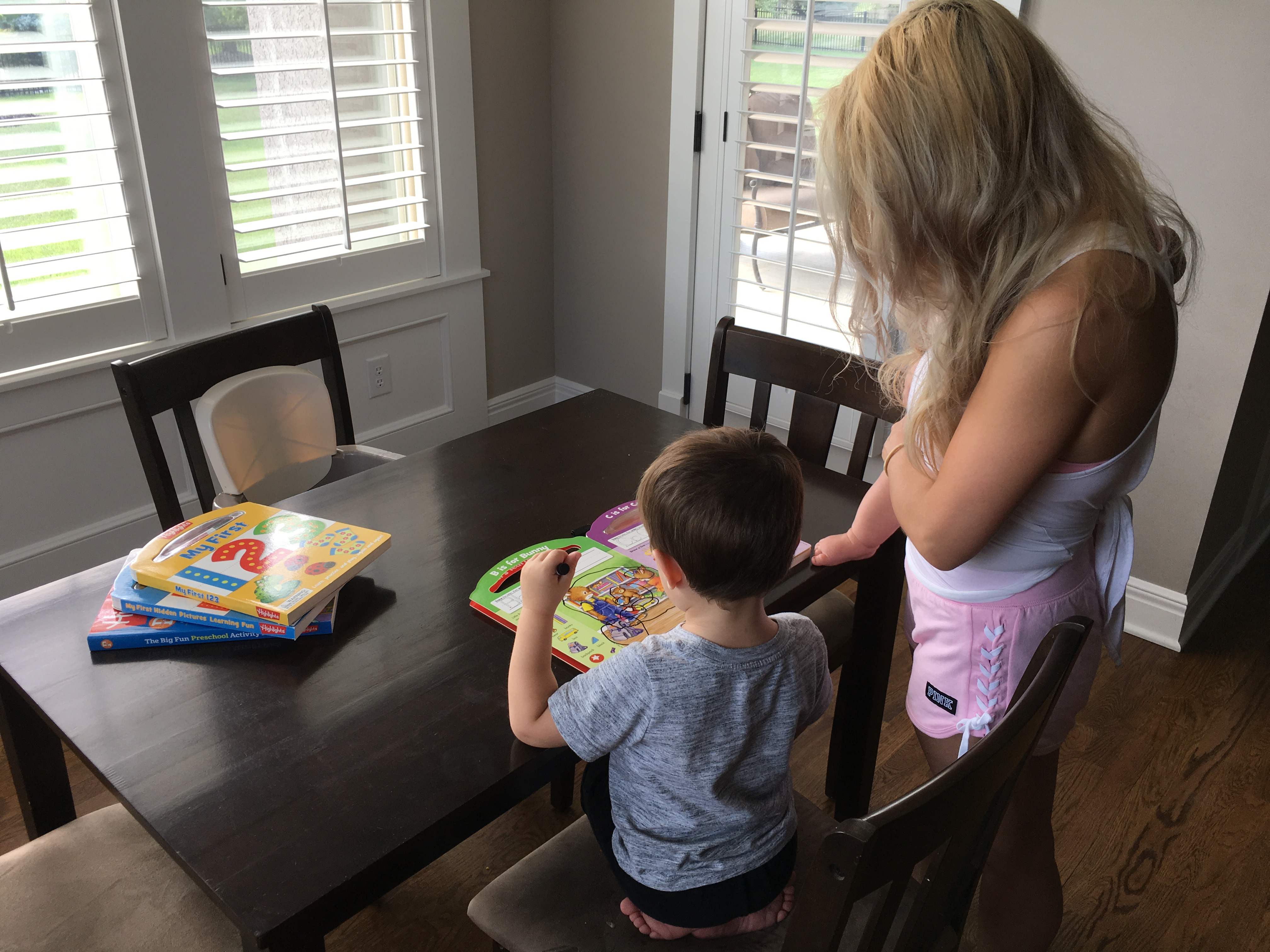 Mom Toddler Boy and Baby Homeschool Table