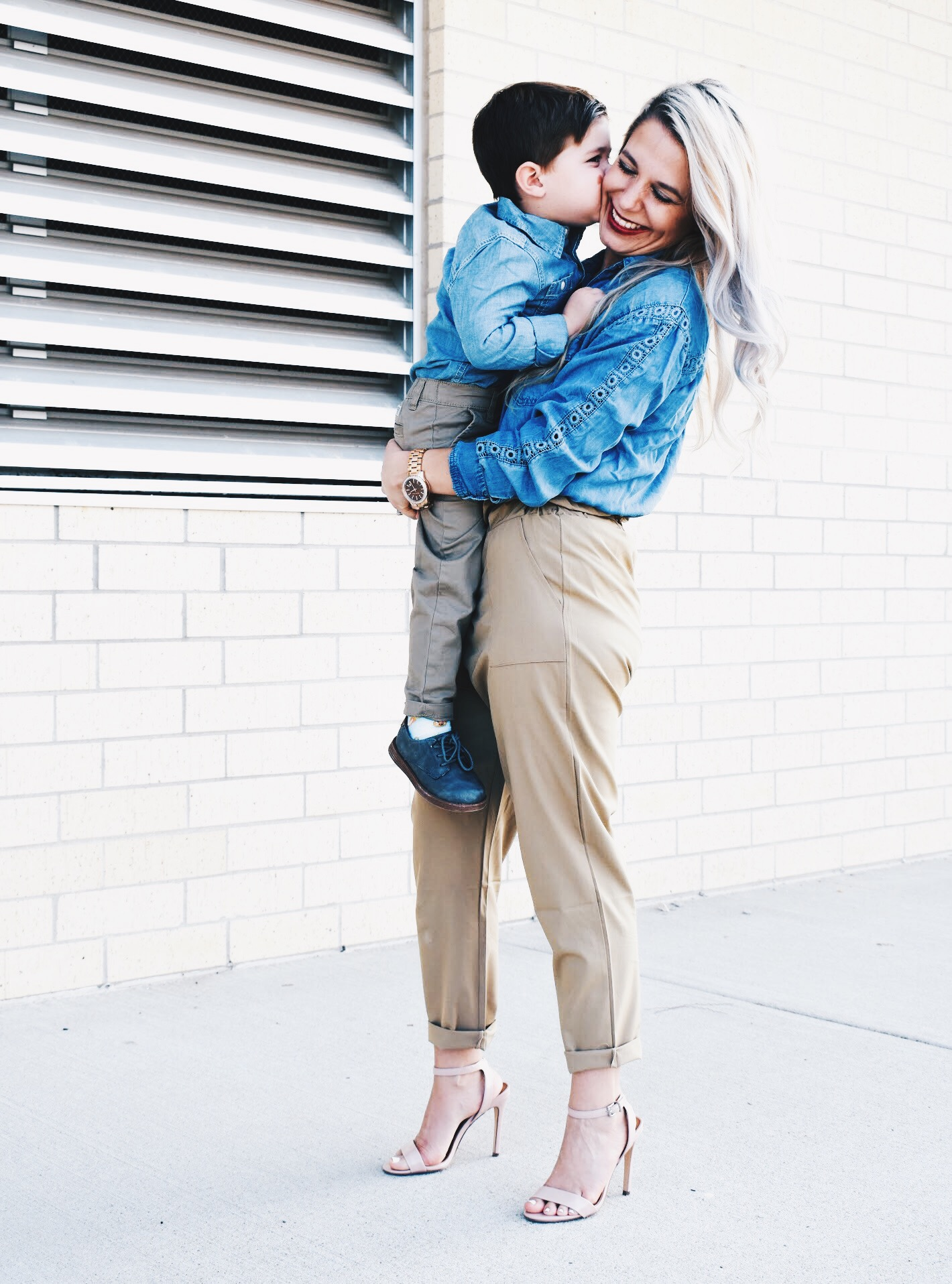 Mommy and Son Matching Outfit Ideas - Mommy and Me Outfits for Boys - Mommy and Me Son Outfits - Outfits for Mommy and Son - Chambray Shirt with Khakis is an outfit that can work for mommy and son! Fashion blogger COVET by tricia shows how to style a chambray shirt with khakis in a mommy and me outfit idea for boy moms. #KidsFashion #MommyandMe #Twinning #BoyMom