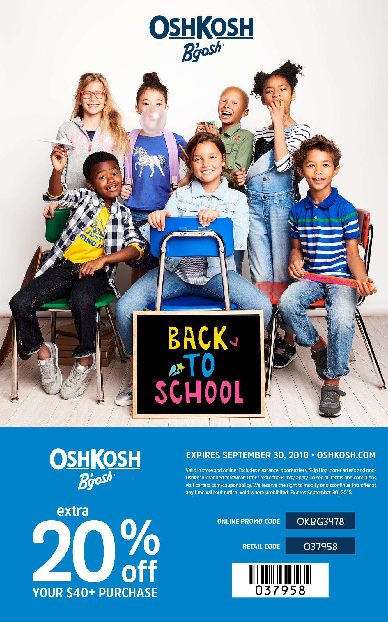 OshKosh Coupon September 2018