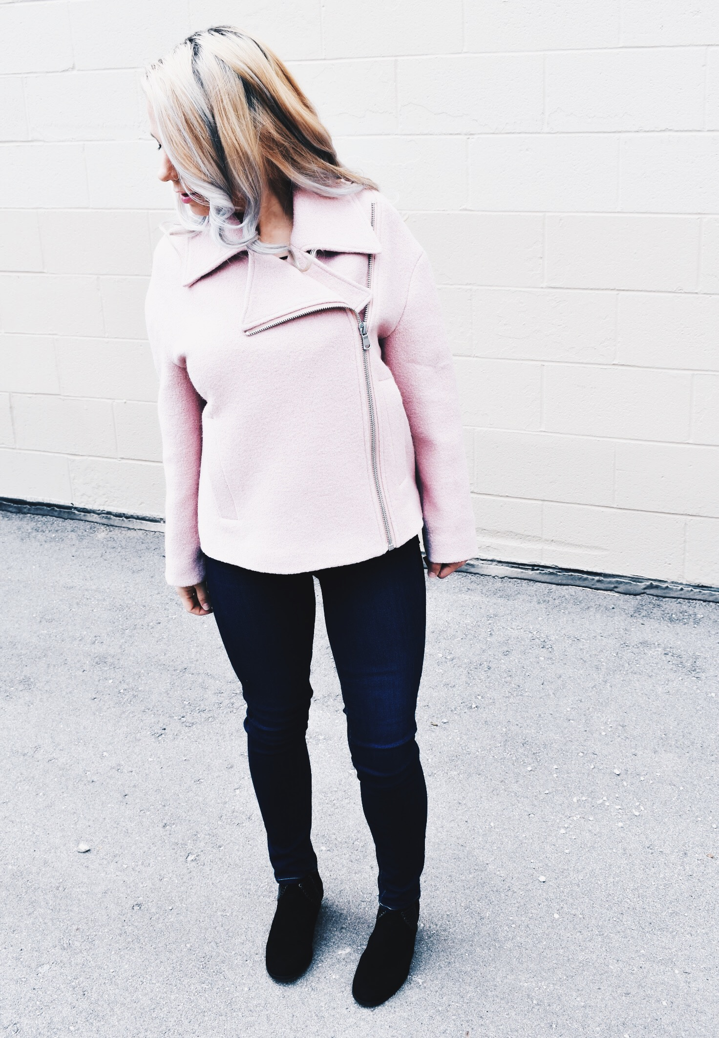 Pink Moto Jacket Outfit - Pink Moto Jacket Style Inspriation - How to Style a Pink Moto Jacket - What to Wear with a Pink Moto Jacket - Here's how to wear a pink moto jacket with items you probably already have in your closet! This is one of my favorite Nordstrom Anniversary Sale 2018 outfits because of this adorable Halogen Blended Wool Blend moto jacket on the NSALE 2018. #NSALE #FashionInspo #StyleInspo
