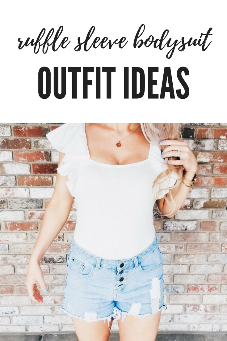 Ruffle Sleeve Bodysuit Outfit Ideas - Bodysuit with Denim Shorts - Summer Outfit Ideas for Women - Summer Outfits for Women - How to Style a Bodysuit for Women - What to Wear with a Bodysuit - The cutest BP Ruffle Sleeve Bodysuit is perfect for your summer outfit inspiration! The ruffle sleeves add something extra to this adorable bodysuit that will garner you tons of compliments! #LikeTKit #Nordstrom #Fashion #WomensFashion