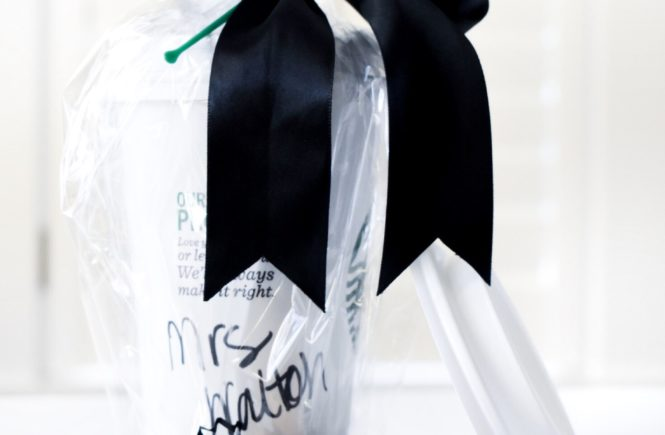 Teacher Wedding Gift Ideas - Preschool Teacher Wedding Gift. Looking for wedding gift ideas for teacher? This simple DIY gift is great for any Starbucks-loving teacher. Simply write her new married name on the coffee cup and throw in a gift card, and you've got the perfect teacher wedding gift idea! #Teacher #GiftIdeas #Starbucks