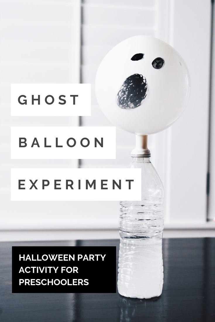 Ghost Balloon Experiment - Halloween Party Activity for Preschoolers - This self-inflating ghost balloon experiment will amaze children and adults alike for your preschool Halloween party! Here's an easy Halloween party activity for preschoolers; all you need is vinegar and baking soda. Try this self-inflating balloon experiment for your next preschool Halloween party! #Halloween #Preschool #STEMLearning