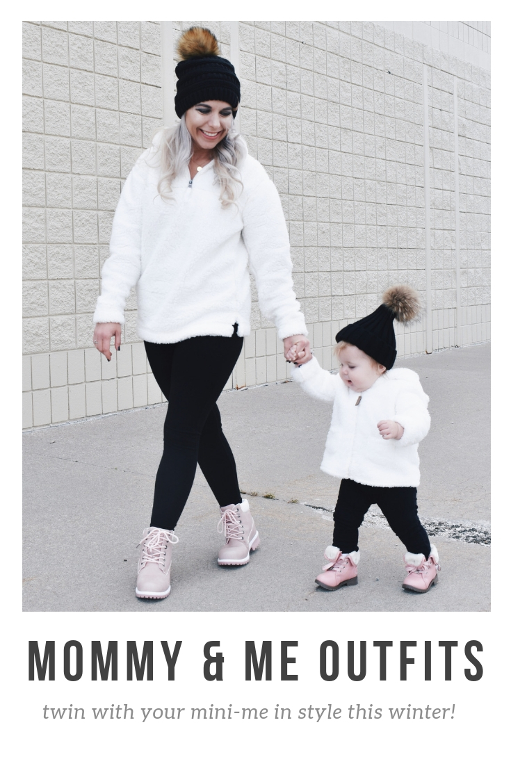 Mom and Daughter Matching Winter Outfits - Get inspo for the perfect mommy and daughter matching outfits for winter! These cozy white sherpa jackets will keep mom and baby girl warm this winter, and the matching mother daughter pink boots are to die for! Top it off with matching mommy and me pom beanie hats and you'll be the most stylish duo in town! #MommyandMe #MomandMe #LTKFamily #LTKKids
