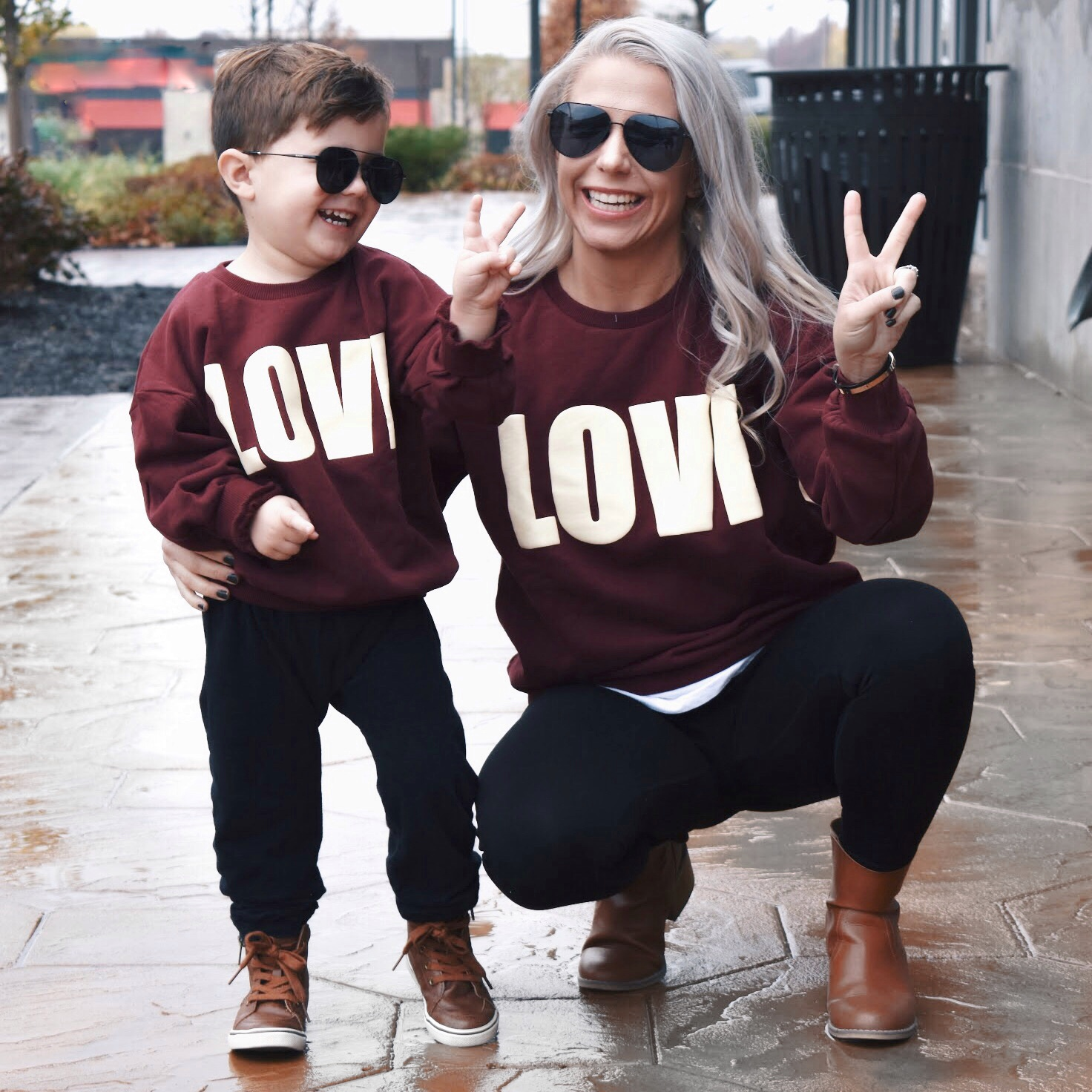 mother son matching outfits  twinning looks for boy moms