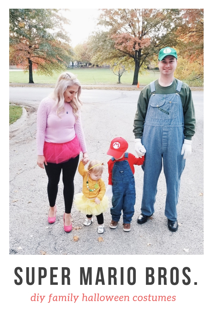 Super Mario Halloween Costumes Family - DIY Family Halloween Costume Ideas for the Super Mario-loving family! Mario Costume, Luigi Costume, Princess Peach Costume, and Princess Daisy Costume come together for a Super Mario Family Halloween Costume that will surely be a hit! #Halloween #FamilyCostumes #Mario