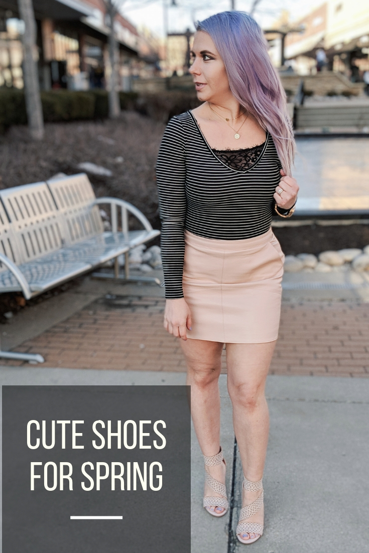 Cute Shoes for Spring 2019 - Where to find the best cute shoes for spring 2019! Kansas City fashion blogger Tricia Nibarger of COVET by tricia showcases the shoe selection at Off Broadway Shoes at Legends Outlets in Kansas City. (ad) Strappy nude sandals are paired with a pink leather mini skirt, black bodysuit, and cute bralette. #obshoes #fashion #style #fashionista #styleinspo