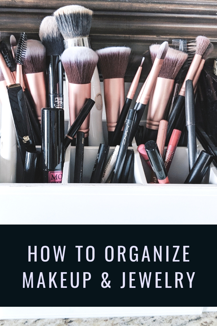 How to Organize Makeup and Jewelry: Organization tips for makeup and jewelry when you don't have a dedicated vanity space. How to organize your makeup and how to organize your jewelry to make your morning routine run much more smoothly! Blogger Tricia Nibarger of COVET by tricia showcases jewelry storage and makeup storage solutions. #organization #tidyingup #sparkjoy