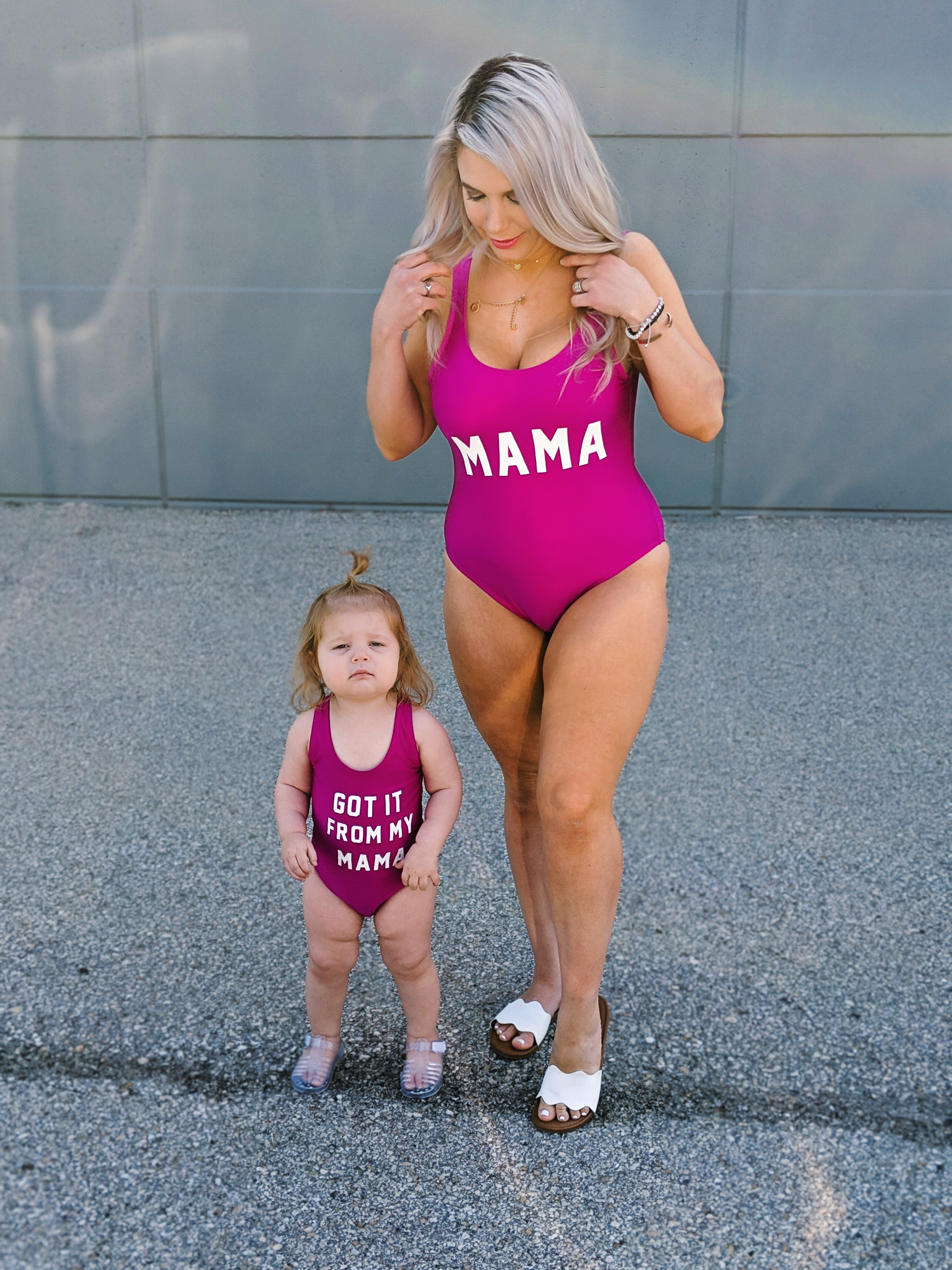 Finally a blogger showing some cheap mommy and me swimsuits! I can't afford those expensive suits and these mommy and me swimsuits are just as cute. Mama and Got it From My Mama swimsuits available in pink and other colors. There's also a Papa version for dads! The cutest mommy and me outfit ideas! #mommyandme #mommyandmeswimsuits #ltkfamily