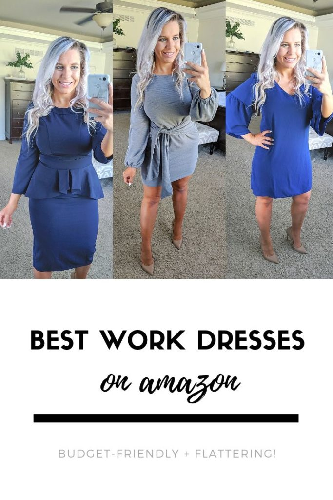 If you have an office job, you NEED to check out this try-on haul! Fashion blogger Tricia Nibarger shows the best work dresses on Amazon 2019. All dresses are budget-friendly and work appropriate. #tryon #amazonfinds #haul #workwear