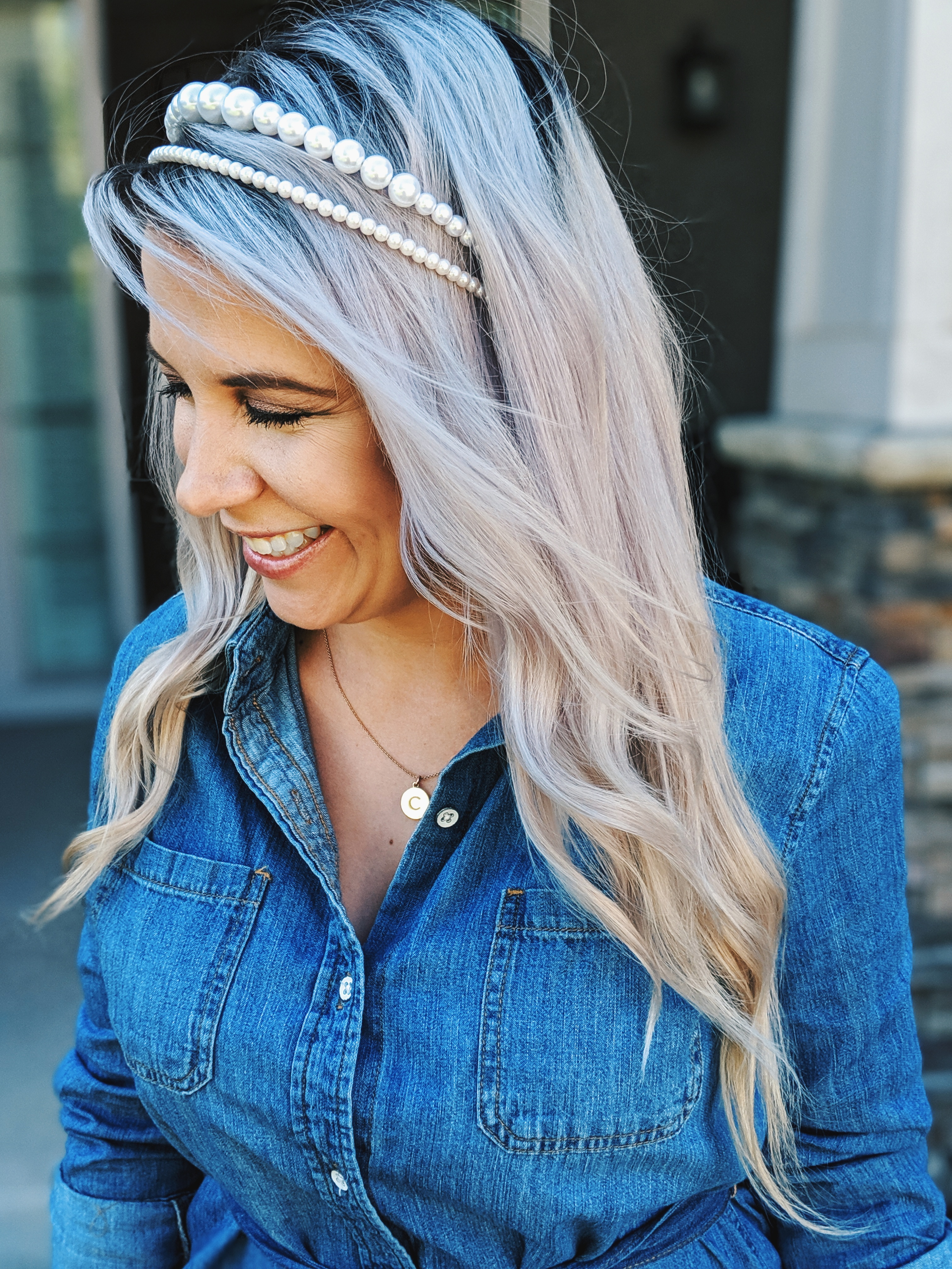 This is the cutest chambray shirt outfit I've seen! :) Love this chambray shirt dress styled with pearl headbands and the cutest accessories. If you're looking for chambray dress outfit ideas or jean shirt dress outfits, check this out! #chambray #shirtdress #target #liketkit