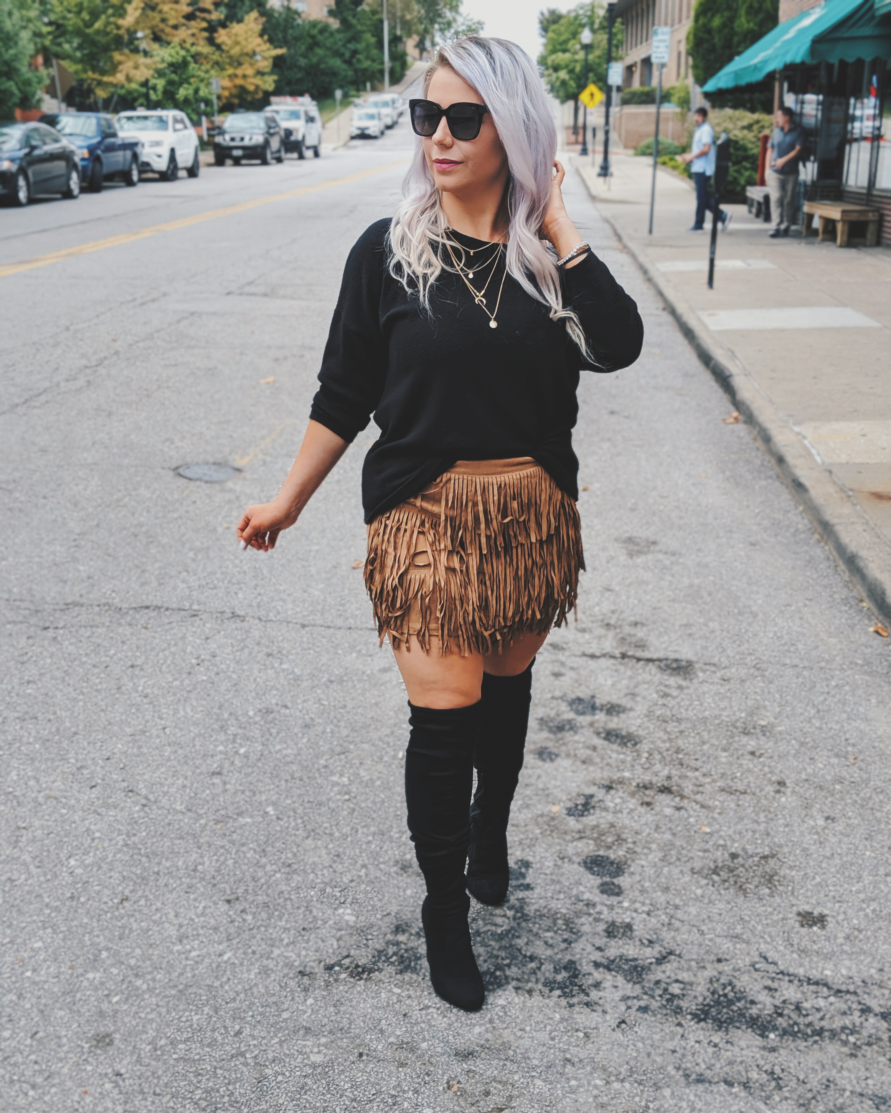 Fall outfit goals :) I NEED this fringe skirt! Fashion blogger Tricia Nibarger showcases fringe skirt outfit ideas for your fall outfits. Here's how to wear a fringe skirt in the fall and winter! This skirt is just $17 and a perfect addition to your fall 2019 wardrobe. #shein #sheingals #falloutfits