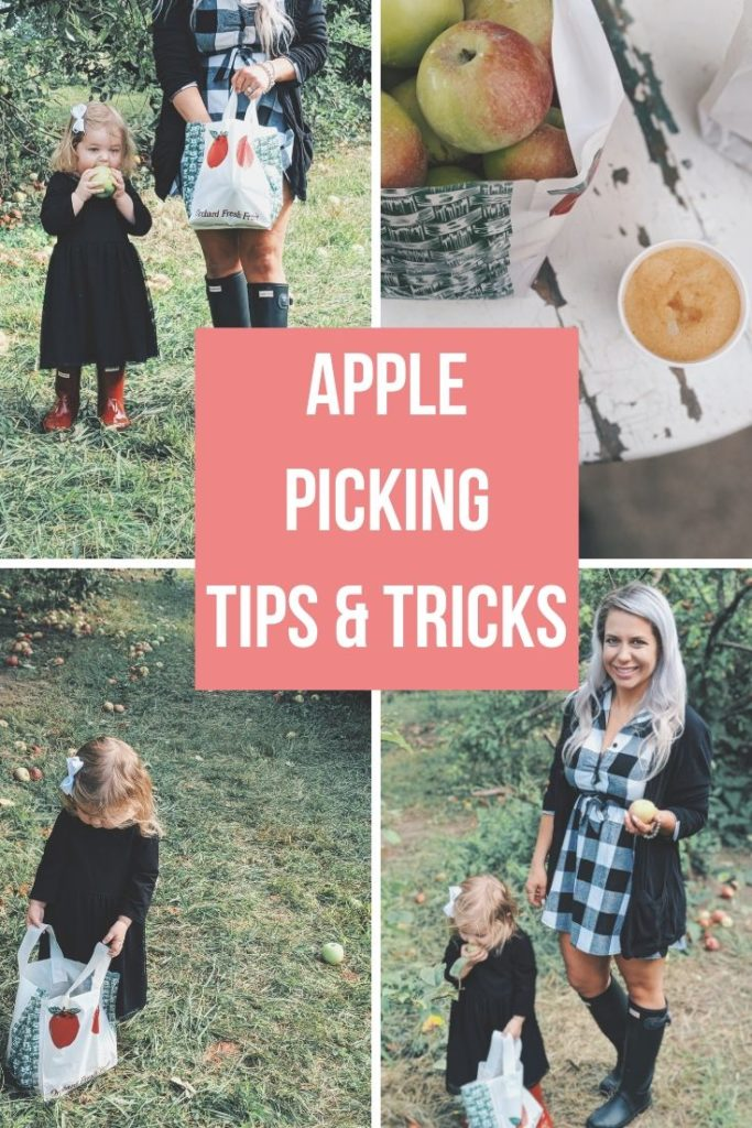 These apple picking photos are too cute! Going apple picking is one of our favorite fall family activities! Here's our apple picking outfits and our experience with apple picking Kansas City at Cider Hill Family Orchard! A great family activity in Kansas City! #applepicking #fallactivities #fall2019