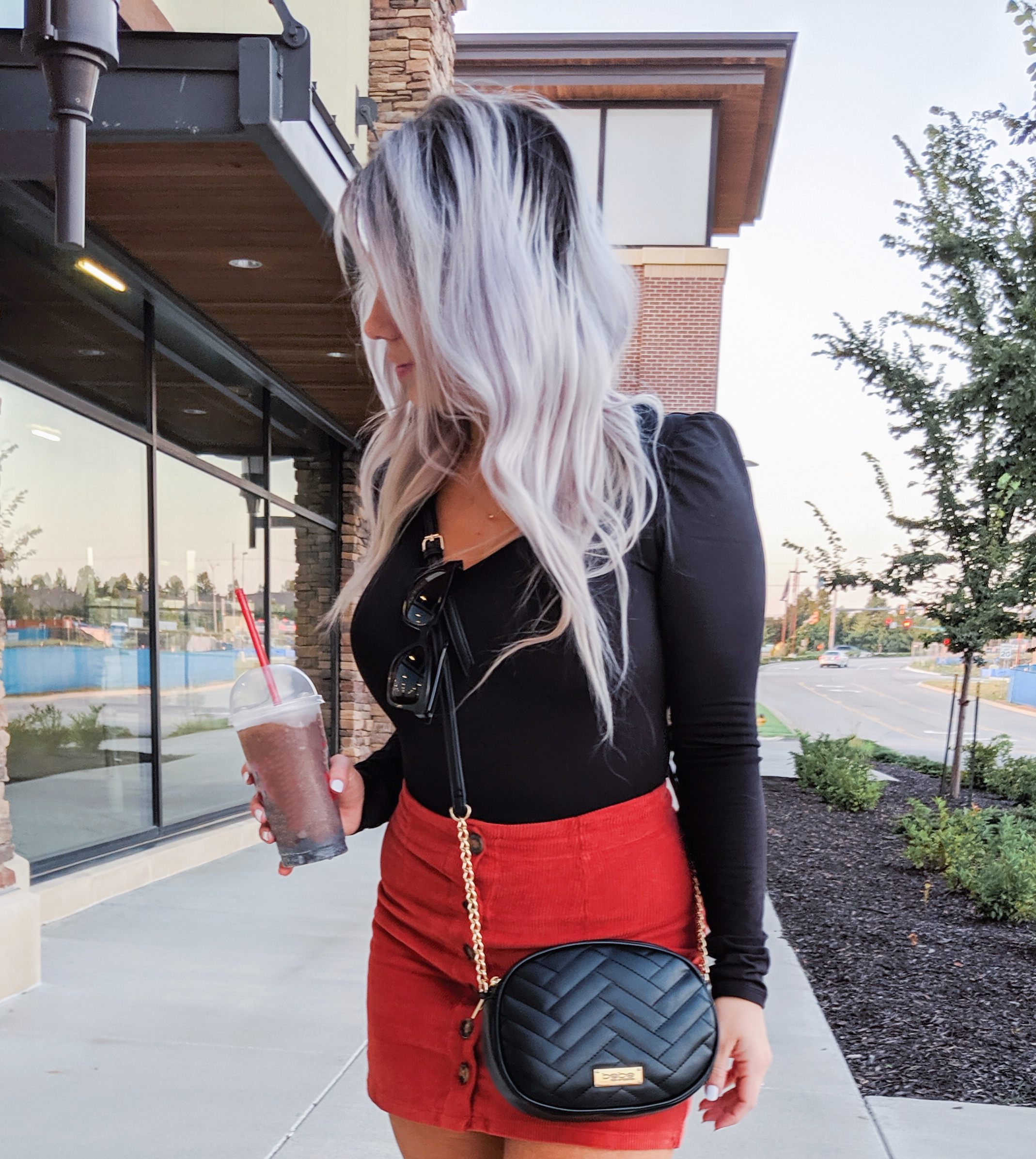 Corduroy Skirt Outfits - Fall Outfits 2019: (ad) Scored this black bodysuit, corduroy skirt, and crossbody bag at Gordmans during their Grand Opening Tour! I shopped the Gordmans in Dyersburg, TN and let me tell you, their prices are too good to pass up! Loving this cute button up corduroy skirt for fall 2019! #GotitatGordmans #GordmansGrandOpeningTour #gthanks