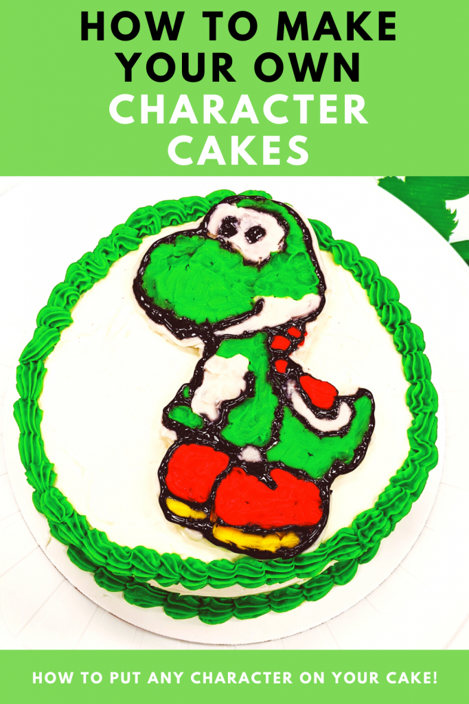 How to Make a Character Cake - DIY Character Cake: Easy DIY Instructions to put ANY character on a cake! Here's how to do a frozen buttercream transfer to make a character cake. #cakedecorating #yoshi #cakes
