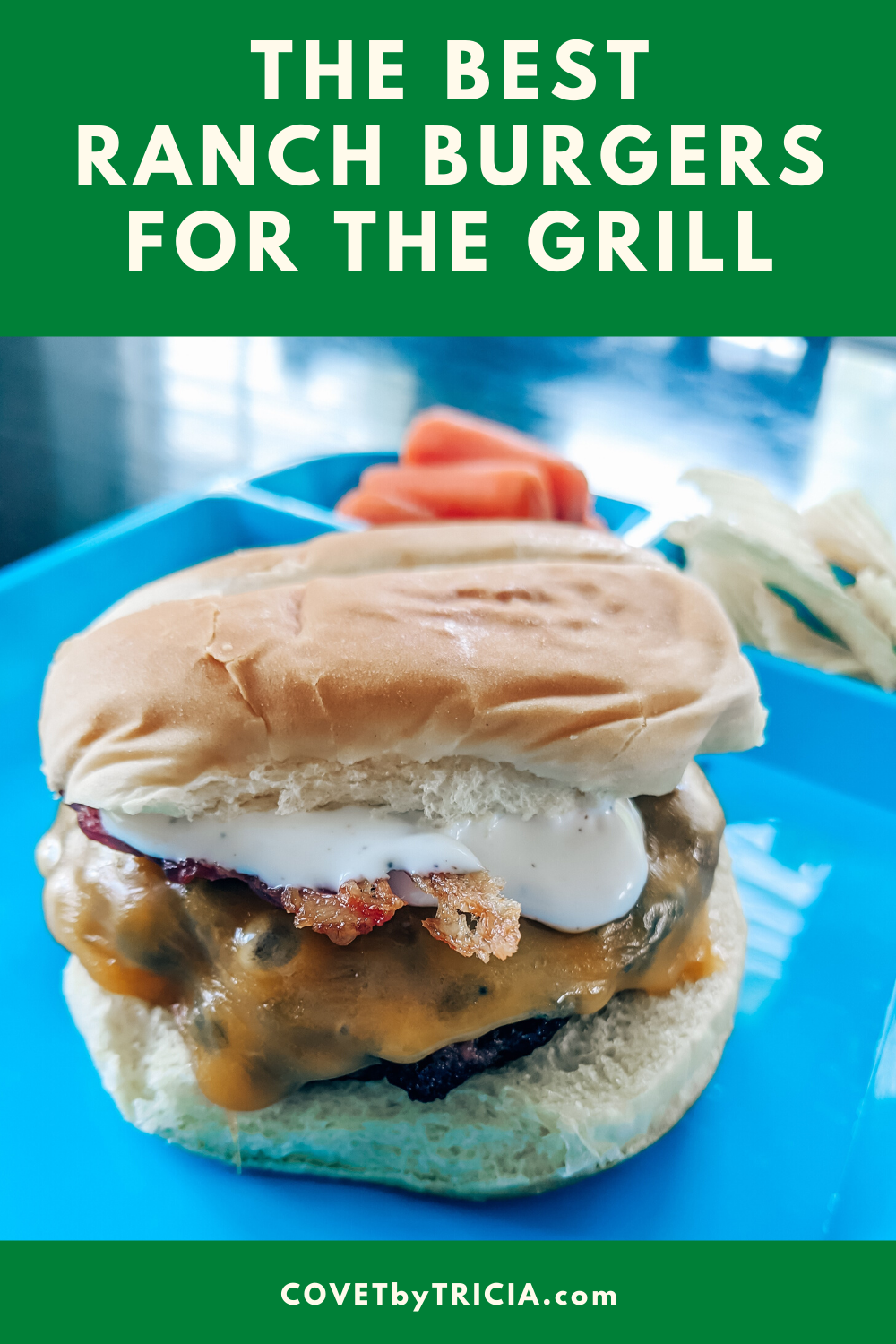 The Best Ranch Burgers for the Grill - Make your next BBQ unforgettable with this easy ranch burger recipe! These bacon ranch burgers are so easy to make and my whole family loved them! #ranch #burgers #bbq #grill