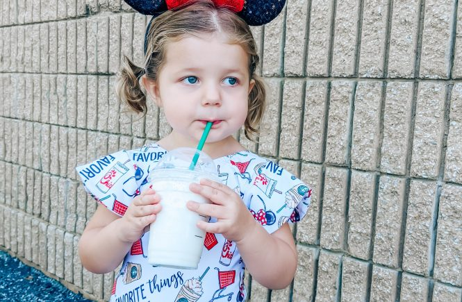 Disney Outfit Toddler Girl - Favorite Things Fabric - Favorite Things Leotard: The perfect Disney outfit for your toddler girl! This Lili.Lane Favorite Things leotard features Disney, Starbucks, Chick-fil-A, and Target all in one! #favoritethings #disney #leotard #littledancer #mouseears