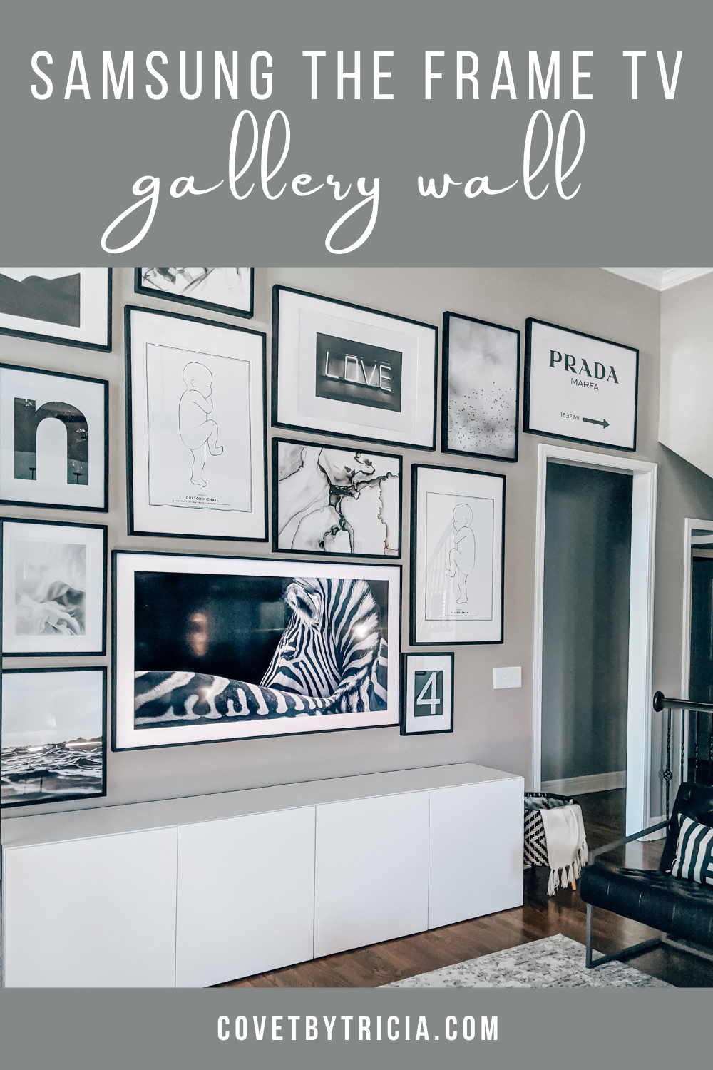 "Gallery Wall with Samsung The Frame TV - Samsung The Frame TV Gallery Wall - Living Room TV Gallery Wall - Samsung The Frame TV Review - Frame TV 65"" - Modern Living Room Gallery Wall - Minimalist Living Room"
