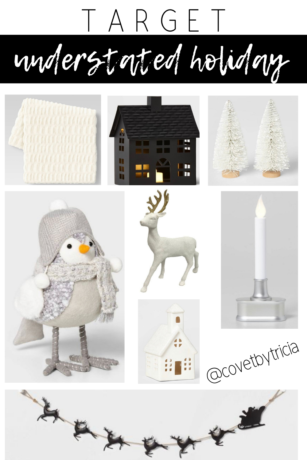 Modern Christmas Decorations from Target - Deck the hall in an understated way with this modern Christmas decor from Target! Black and white Christmas, neutral holiday decor, modern holiday decor #target #targethome #christmasdecor