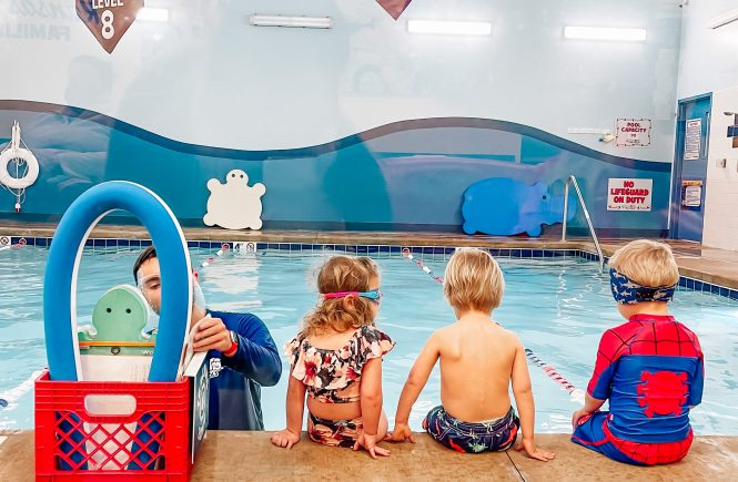 5 Ways to Practice Swimming Without a Pool - Keep your little swimmer's skills strong without a pool with these 5 ways to practice swimming without a pool. Great for helping your kids practice in between swim lessons! #swimlessons #swimming #swim #kidsswimming